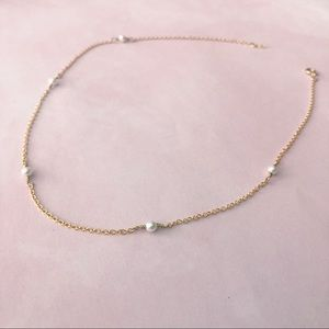 Gold necklace with Swarovski Pearls